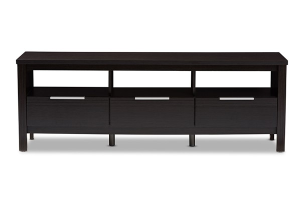 Baxton Studio Elaine Dark Brown Wood 3 Drawers TV Stand BAX-MH8123-Wenge-TV
