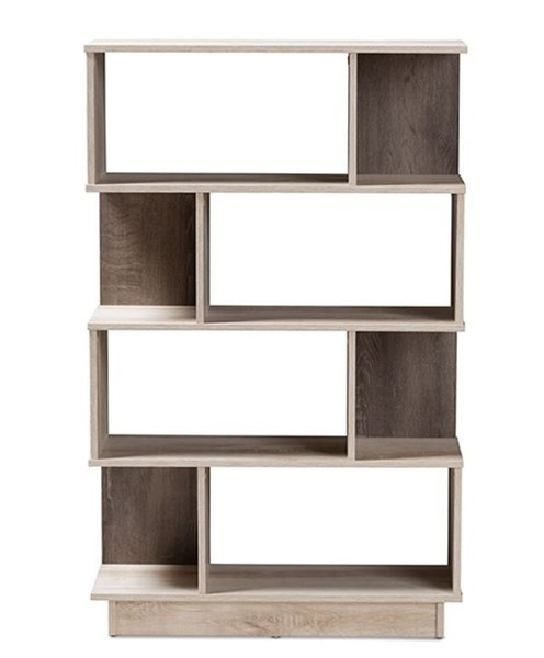 Baxton Studio Teagan Oak Brown Display Bookcase BAX-MH1165-Oak-Bookcase