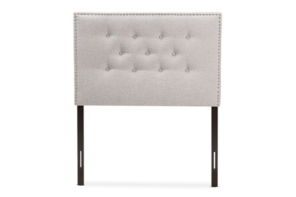 Baxton Studio Windsor Greyish Beige Fabric Upholstered Twin Headboard BAX-BBT6691-GYBG-THB-H121714