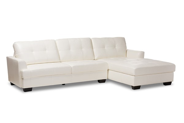 Baxton Studio Adalynn White Faux Leather Upholstered Sectional Sofa BAX-R2471WHRFCIDS070LT-SECLS