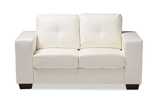 Baxton Studio Adalynn White Faux Leather Upholstered Loveseat BAX-U2470-White-LS-IDS06LT-LS