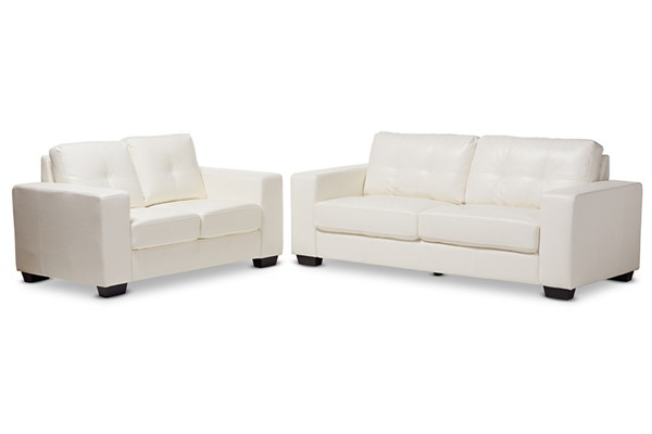 Baxton Studio Adalynn White Faux Leather Upholstered 2pc Living Room Set BAX-U2470-White-2PC-Set
