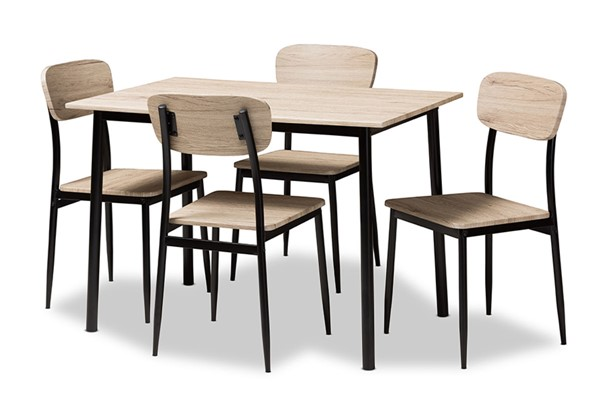 Baxton Studio Honore Light Brown Wood 5pc Dining Set BAX-D01136R-5PC-Dining-Set