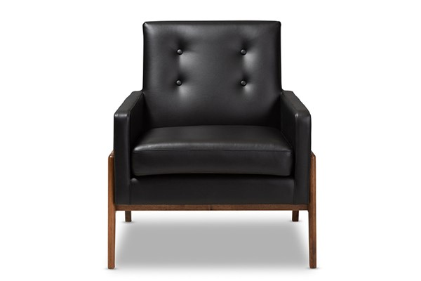 Baxton Studio Perris Black Faux Leather Upholstered Lounge Chair BAX-BBT8042-Black-CC