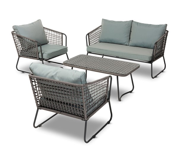 Baxton Studio Emil Sky Blue Fabric Grey Rattan 4pc Outdoor Patio Lounge Set BAX-MLM-210318-Grey-Sky-Blue