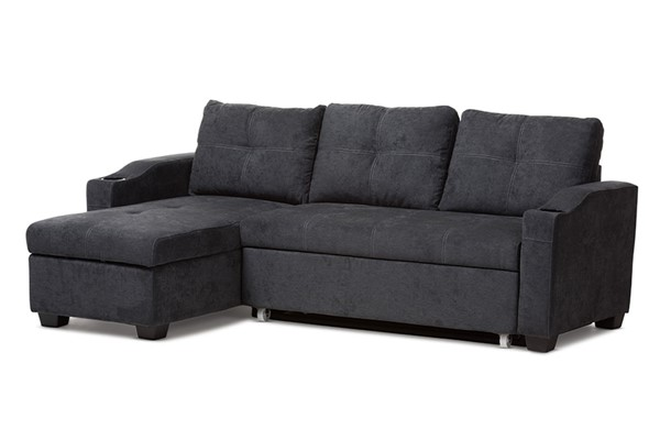 Baxton Studio Lianna Dark Grey Fabric Upholstered Sectional Sofa BAX-R8068-Dark-Grey-Rev-SF