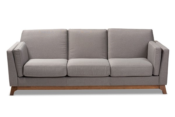 Baxton Studio Sava Grey Fabric Upholstered 3 Seater Sofa BAX-BBT8037-Grey-SF