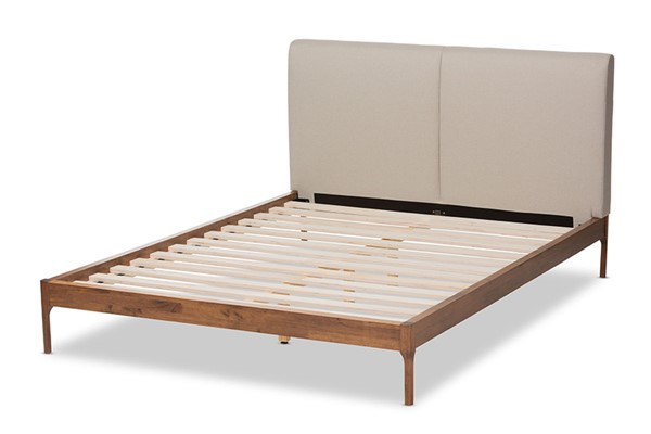 Baxton Studio Aveneil Beige Fabric Walnut Wood King Platform Bed BAX-BBT6723-Light-Beige-King