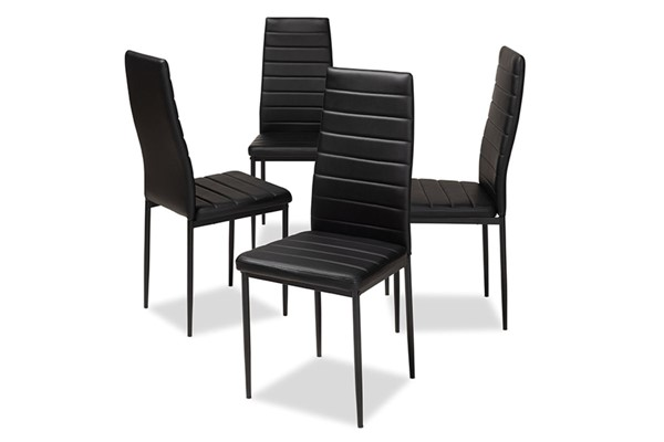 4 Baxton Studio Armand Black Faux Leather Upholstered Dining Chairs BAX-112157-1-Black