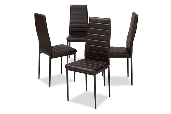 4 Baxton Studio Armand Dark Brown Faux Leather Upholstered Dining Chairs BAX-112157-1-Brown