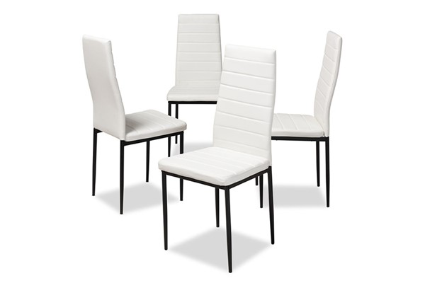 4 Baxton Studio Armand White Faux Leather Upholstered Dining Chairs BAX-112157-1-White