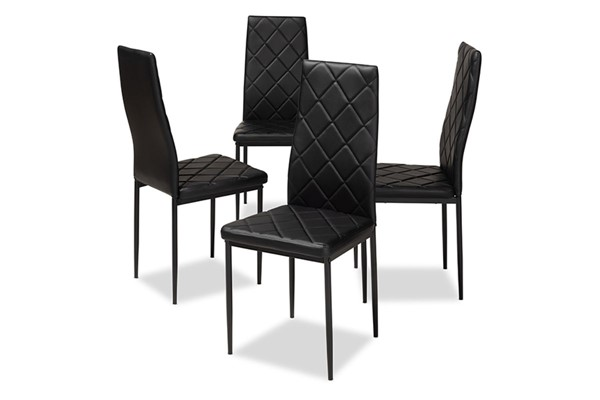 4 Baxton Studio Blaise Faux Leather Upholstered Dining Chairs BAX-112157-DC-VAR