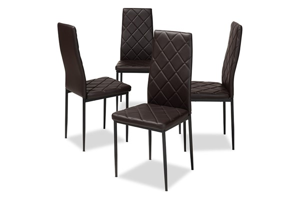 4 Baxton Studio Blaise Dark Brown Faux Leather Upholstered Dining Chairs BAX-112157-4-Brown