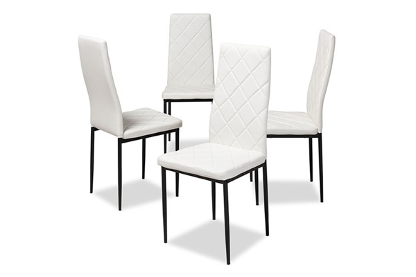 4 Baxton Studio Blaise White Faux Leather Upholstered Dining Chairs BAX-112157-4-White