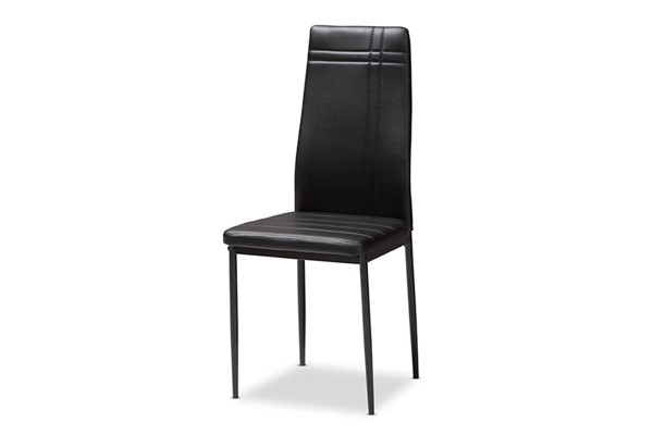 4 Baxton Studio Matiese Black Faux Leather Upholstered Dining Chairs BAX-112157-6-Black