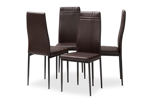 4 Baxton Studio Matiese Dark Brown Faux Leather Upholstered Dining Chairs BAX-112157-6-Brown