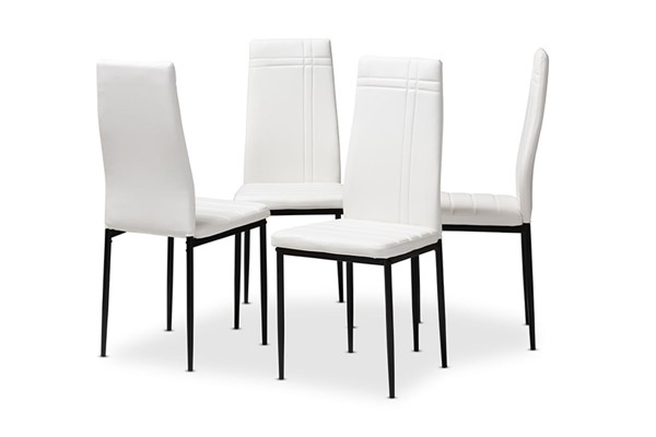 4 Baxton Studio Matiese White Faux Leather Upholstered Dining Chairs BAX-112157-6-White