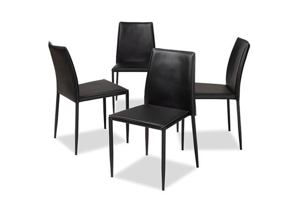4 Baxton Studio Pascha Black Faux Leather Upholstered Dining Chairs BAX-150543-Black