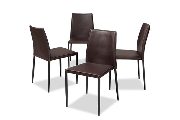 4 Baxton Studio Pascha Dark Brown Faux Leather Upholstered Dining Chairs BAX-150543-Brown
