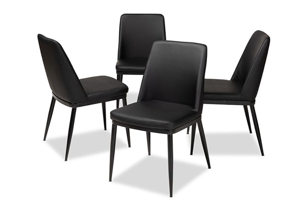 4 Baxton Studio Darcell Black Faux Leather Upholstered Dining Chairs BAX-150595-Black-4PC-Set