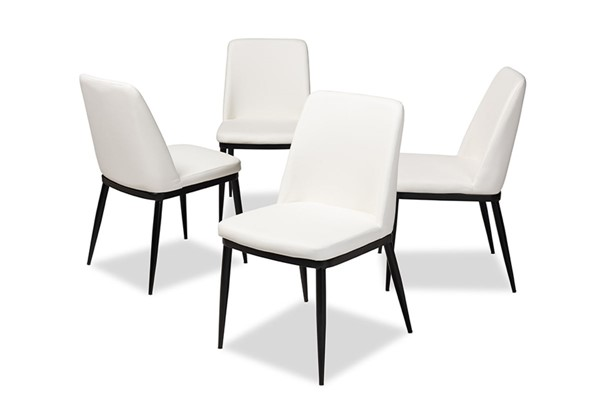 4 Baxton Studio Darcell White Faux Leather Upholstered Dining Chairs BAX-150595-White-4PC-Set
