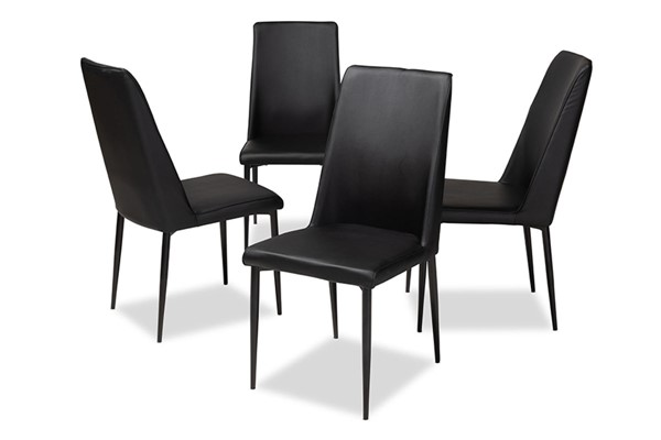 4 Baxton Studio Chandelle Black Faux Leather Upholstered Dining Chairs BAX-160505-Black-4PC-Set