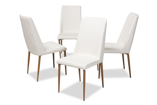 4 Baxton Studio Chandelle White Faux Leather Upholstered Dining Chairs BAX-160505-White-4PC-Set