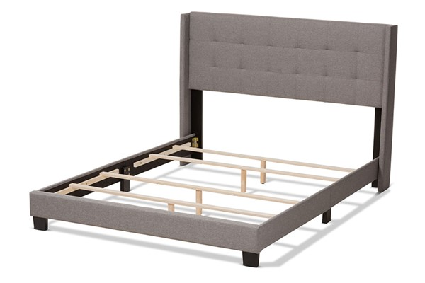 Baxton Studio Lisette Grey Fabric Upholstered King Bed BAX-CF8031B-Grey-King