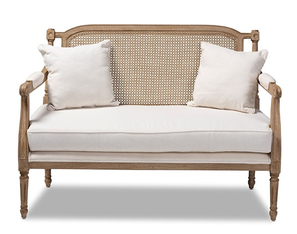 Baxton Studio Clemence Ivory Fabric Loveseat BAX-ASS1038-LS