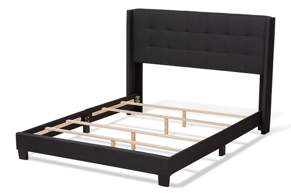 Baxton Studio Lisette Charcoal Grey Fabric Upholstered Queen Bed BAX-CF8031B-Charcoal-Queen