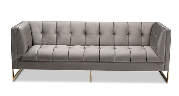 Baxton Studio Ambra Grey Velvet Upholstered Button Tufted Sofa BAX-TSF-5507-Grey-Gold-SF