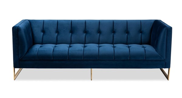 Baxton Studio Ambra Royal Blue Velvet Upholstered Button Tufted Sofa BAX-TSF-5507-Navy-Gold-SF