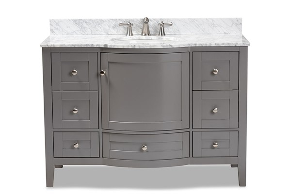 Baxton Studio Nicole Wood 48 Inch Single Sink Bathroom Vanities BAX-NICOLE-48-BATHACC-VAR