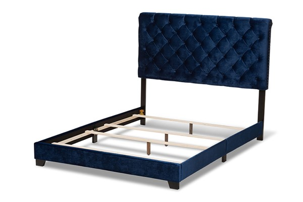 Baxton Studio Candace Navy Blue Navy Velvet Upholstered Queen Bed BAX-Candace-Navy-Queen
