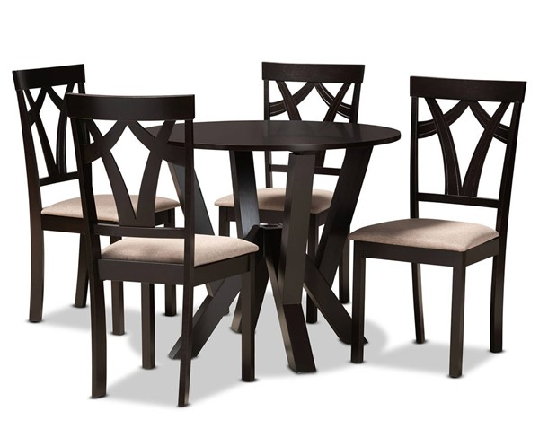Baxton Studio Reagan Sand Dark Brown 5pc Dining Room Set BAX-REAGAN-DBR-SD-5PCDINSET