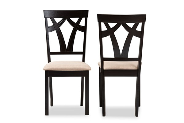 2 Baxton Studio Sylvia Sand Fabric Upholstered Dining Chairs BAX-RH146C-Dark-Brown-Sand-DC