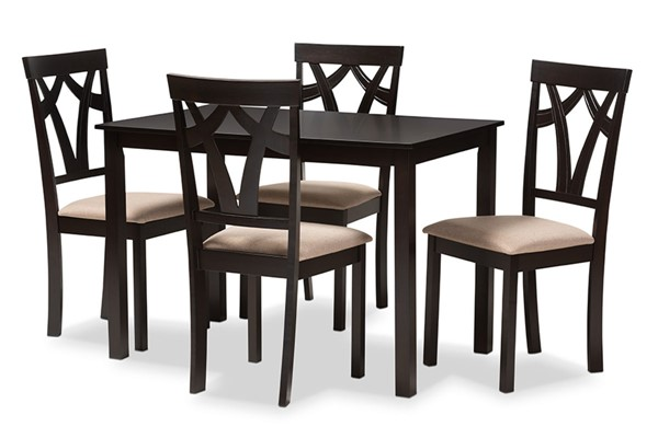 Baxton Studio Sylvia Sand Fabric Brown Wood 5pc Dining Set BAX-RH146C-DBR-SND-DINSET