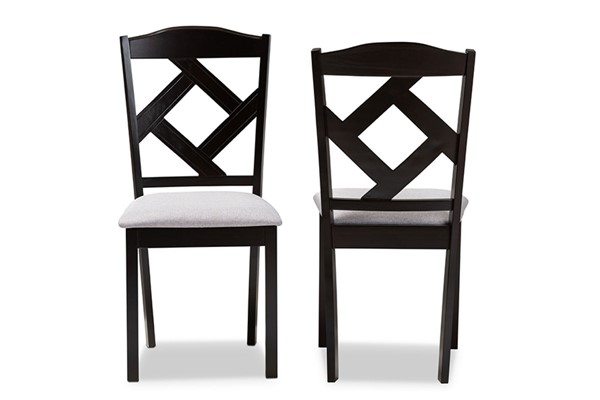 2 Baxton Studio Ruth Grey Fabric Upholstered Dining Chairs BAX-RH133C-Dark-Brown-Grey-DC