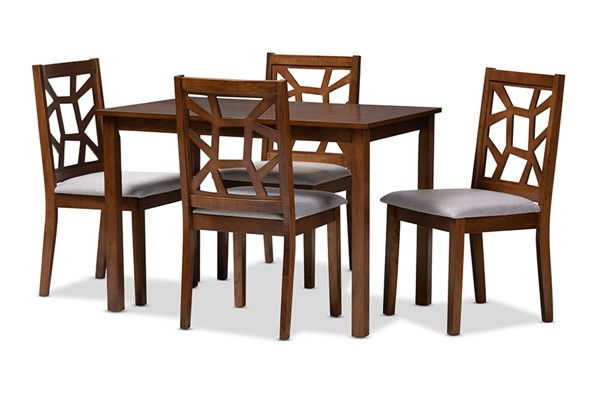 Baxton Studio Abilene Grey Fabric Walnut Brown Wood 5pc Dining Set BAX-RH3010C-Walnut-Grey-Dining-Set