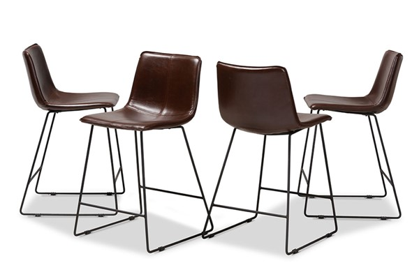 4 Baxton Studio Carvell Dark Brown Faux Leather Upholstered Counter Stools BAX-C1860A-CHERRY-DBR-PS