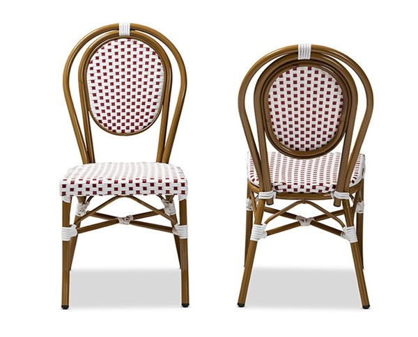 2 Baxton Studio Gauthier Red Indoor and Outdoor Stackable Bistro Dining Chairs BAX-WA-4094-Red-White-DC