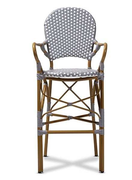 Baxton Studio Marguerite Grey White Indoor and Outdoor Stackable Bistro Bar Stool BAX-WA-4209-Grey-White-BS