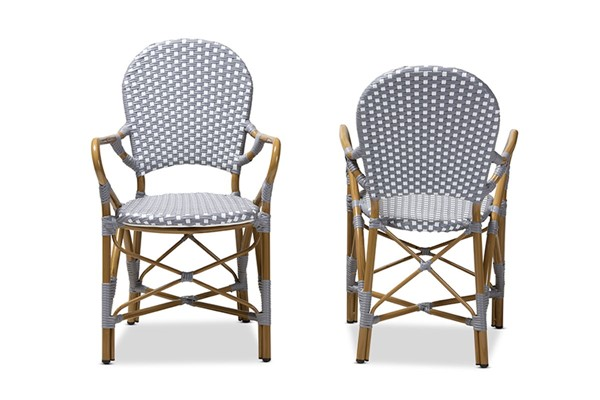 2 Baxton Studio Seva Grey White Indoor and Outdoor Stackable Bistro Dining Chairs BAX-WA-4209-Grey-White-DC