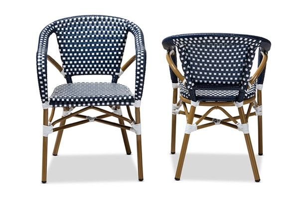 2 Baxton Studio Eliane Navy Indoor and Outdoor Stackable Bistro Dining Chairs BAX-WA-4267-Navy-White-DC