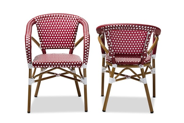 2 Baxton Studio Eliane Red Indoor and Outdoor Stackable Bistro Dining Chairs BAX-WA-4267-Red-White-DC