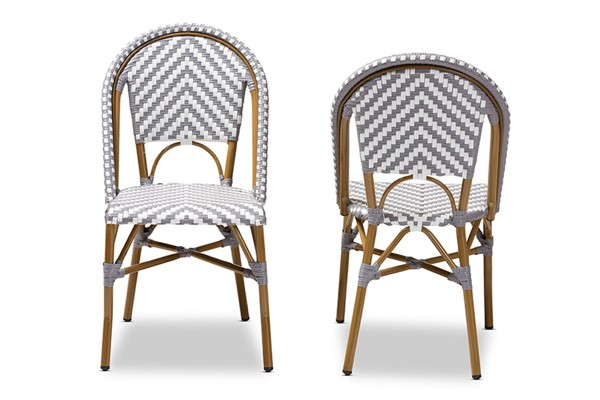 2 Baxton Studio Celie Indoor and Outdoor Stackable Bistro Dining Chairs BAX-WA-4307V-OUTDOOR-DC-VAR
