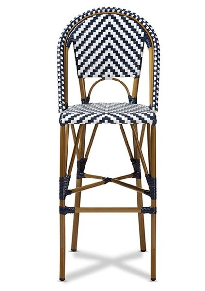 Baxton Studio Ilene Blue Indoor and Outdoor Stackable Bistro Bar Stool BAX-WA-4307V-White-Blue-BS