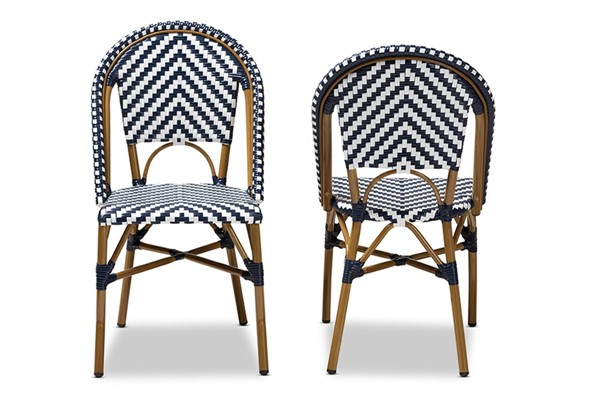2 Baxton Studio Celie Blue Indoor And Outdoor Stackable Bistro Dining Chairs BAX-WA-4307V-White-Blue-DC