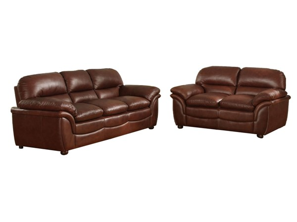 Baxton Studio Redding Modern Brown Bonded Leather 2pc Living Room Set BAX-9015-Loveseat-Sofa