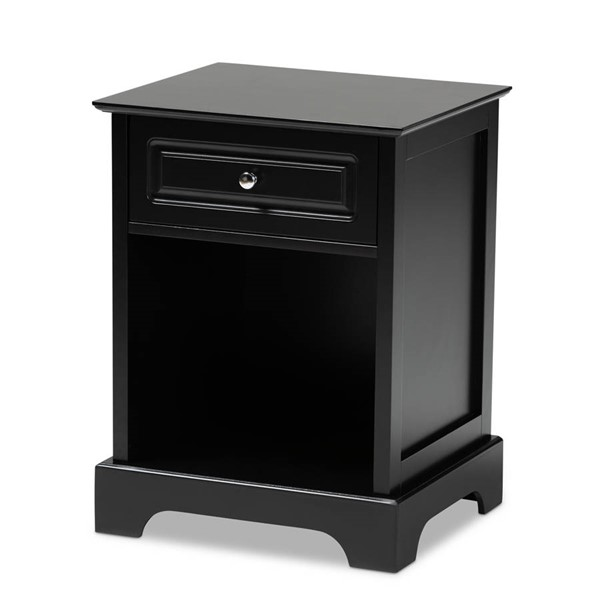 Baxton Studio Chase Black 1 Drawer Nightstand BAX-SR161050-Black-NS